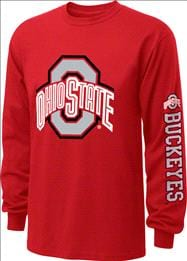 Ohio State Buckeyes  Red Youth Double Hit II Long Sleeve T-Shirt