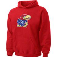Kansas Jayhawks Youth Red Tackle Twill Hooded Sweatshirt