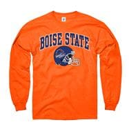 Boise State Broncos Orange Football Helmet Long Sleeve T-Shirt