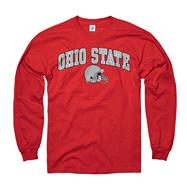Ohio State Buckeyes Red Football Helmet Long Sleeve T-Shirt