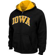 Iowa Hawkeyes Youth Black Tackle Twill Full Zip Hooded Sweatshirt