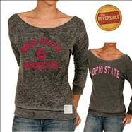Ohio State Buckeyes Original Retro Brand Women's Raw Edge Burnout Reversible Boat Neck Sweatshirt