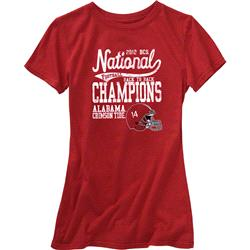 Alabama Crimson Tide Women's 2012 BCS National Champions T-Shirt - Cardinal