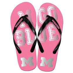 Michigan Wolverines Womens Pink Slogan Flip Flop