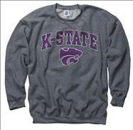 Kansas State Wildcats Dark Heather Perennial II Crewneck Sweatshirt