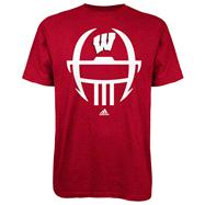 Wisconsin Badgers Red adidas 2012 Football Sideline Helmet T-Shirt
