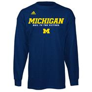 Michigan Wolverines Navy adidas 2012 Football Sideline Graphic Long Sleeve T-Shirt