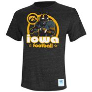 Iowa Hawkeyes Heather Black adidas Originals Iron Heat Gridiron Tri-Blend T-Shirt