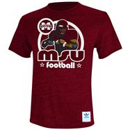 Mississippi State Bulldogs Heather Maroon adidas Originals Iron Heat Gridiron Tri-Blend T-Shirt