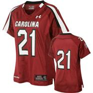 South Carolina Gamecocks 2012 Replica Football Jersey: Women's Cardinal Under Armour #21 Replica Football Jersey