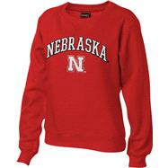 Nebraska Cornhuskers Women's Red Tackle Twill Crewneck Sweatshirt