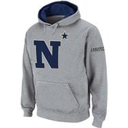 Navy Midshipmen Heather Grey Twill Pep Rally Hooded Sweatshirt