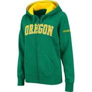 Oregon Ducks Women's Dark Green Twill Tailgate Full-Zip Hooded Sweatshirt