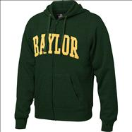 Baylor Bears Dark Green Twill Arch Full-Zip Hooded Sweatshirt
