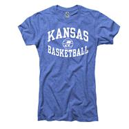 Kansas Jayhawks Women's Heather Royal Reversal Basketball Ring Spun T-Shirt