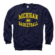 Michigan Wolverines Navy Reversal Basketball Crewneck Sweatshirt