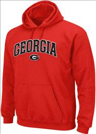 Georgia Bulldogs Red Seasonal Arch Tackle Twill Hooded Sweatshirt