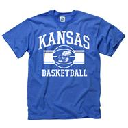 Kansas Jayhawks Royal Wide Stripe Basketball T-Shirt