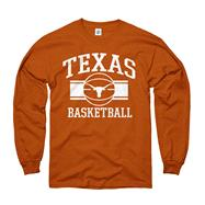 Texas Longhorns Dark Orange Wide Stripe Basketball Long Sleeve T-Shirt