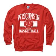 Wisconsin Badgers Red Wide Stripe Basketball Crewneck Sweatshirt