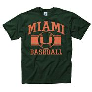 Miami Hurricanes Dark Green Wide Stripe Baseball T-Shirt