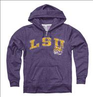 LSU Tigers Women's Heather Purple Cheer Ring Spun Full-Zip Hooded Sweatshirt