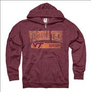Virginia Tech Hokies Heather Maroon Bridge Ring Spun Full-Zip Hooded Sweatshirt