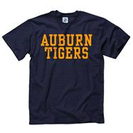 Auburn Tigers Navy Stacked Text Neon T-Shirt