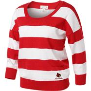 Louisville Cardinals Women's Red/White 3/4 Sleeve Scoop Neck Rugby Sweater