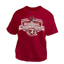Alabama Crimson Tide Youth Crimson 2012 BCS National Champions Back To Back Wins T-Shirt