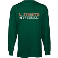 Miami Hurricanes Youth Green Baseball Long Sleeve T-Shirt