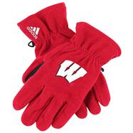Wisconsin Badgers adidas Red Fleece Gloves