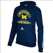 Michigan Wolverines adidas Navy Youth 3 Stripe Hooded Sweatshirt