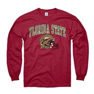 Florida State Seminoles Garnet Football Helmet Long Sleeve T-Shirt