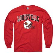 Louisville Cardinals Red Football Helmet Long Sleeve T-Shirt