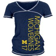 Michigan Wolverines Women's Navy/White Burnout V-Neck T-Shirt