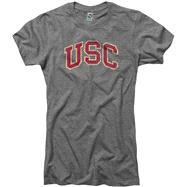 USC Trojans Women's Grey Big Arch N Logo Deep V-Neck Ring Spun T-Shirt