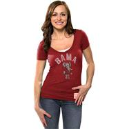 Alabama Crimson Tide Women's Deep Red Retro Brand Vintage Bama Deep V-neck T-Shirt