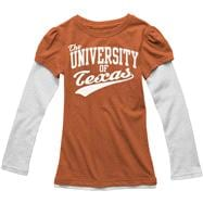 Texas Longhorns Youth Girls Dark Orange Faux Layered Thermal Long Sleeve T-Shirt