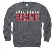 Ohio State Buckeyes Charcoal Straight Line Crewneck Sweatshirt