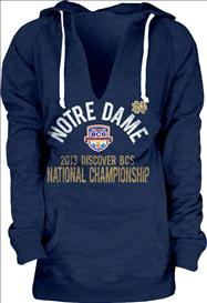 Notre Dame Fighting Irish Women's 2013 BCS National Championship Game Floored Burnout Hooded Sweatshirt - Navy