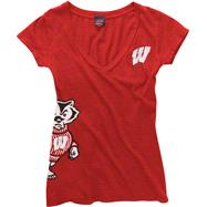 Wisconsin Badgers Women's Red Cossett Mascot Deep V-Neck Tee