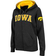 Iowa Hawkeyes Women's Black Twill Tailgate Full-Zip Hooded Sweatshirt