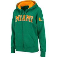 Miami Hurricanes Women's Dark Green Twill Tailgate Full-Zip Hooded Sweatshirt