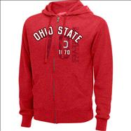 Ohio State Buckeyes Red Heathered XII Full-Zip Hooded Sweatshirts