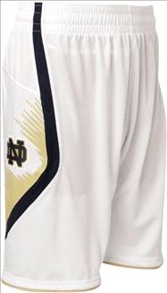 Notre Dame Fighting Irish White adidas 2012-2013 On-Court Point Guard Replica Basketball Shorts
