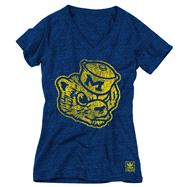 Michigan Wolverines Women's Heather Navy adidas Originals Super Fan Tri-Blend T-Shirt