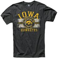 Iowa Hawkeyes Black Button Up Ring Spun T-Shirt