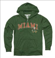 Miami Hurricanes Women's Heather Green Cheer Ring Spun Full-Zip Hooded Sweatshirt
