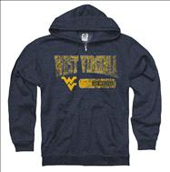 West Virginia Mountaineers Heather Navy Bridge Ring Spun Full-Zip Hooded Sweatshirt